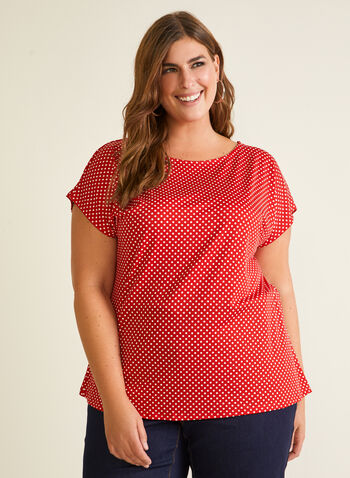Polka Dot Print Top, Red,  top, polka dot, short sleeves, scoop neck, spring summer 2020