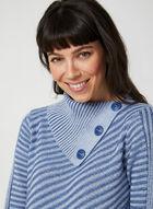 Pull à col asymétrique en tricot côtelé, Bleu