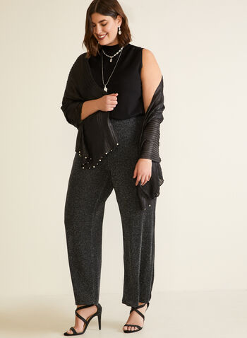 Metallic Wide Leg Pants, Black,  fall winter 2020, holidays 2020, pants, wide leg, pull-on, elastic waist, slip on, metallic, made in Canada