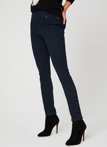 GG Jeans - Jean coupe moderne à détails lacets, Bleu, hi-res