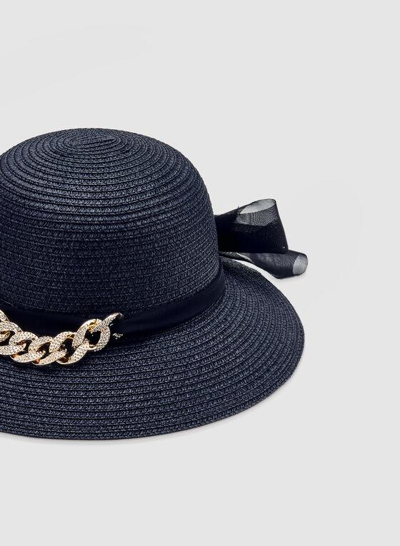 Chapeau en paille avec détail de chaîne, Bleu
