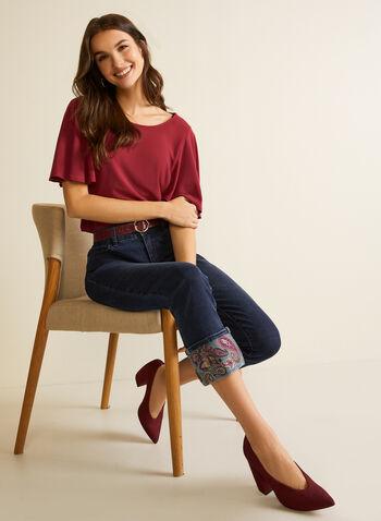 Jeans avec ourlet à motif cachemire, Bleu,  automne hiver 2020, jeans, jambe droite, denim, jean, motif, cachemire
