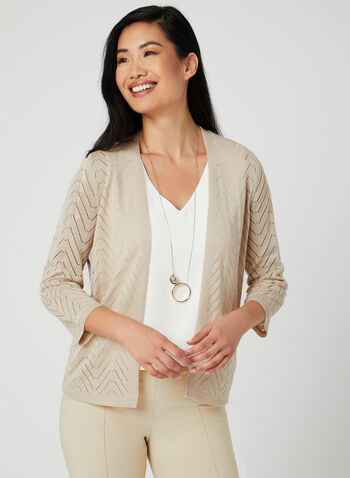 Open Front Cardigan , Off White, hi-res,  ¾ sleeves, spring 2019, knit, pointelle