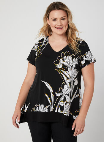 Floral Print Jersey Top, Black, hi-res,  Canada, V-neck, top, tunic, floral print, shark bite hemline, jersey, fall 2019, winter 2019