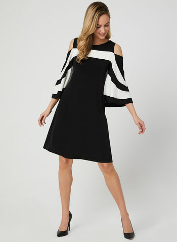 Colour Block Jersey Dress, Black, hi-res