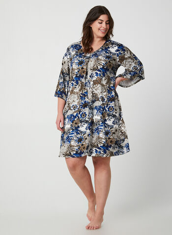 Floral Print Nightgown, Blue,  Canada, sleepwear, pyjama, nightgown, floral print, fall 2019, winter 2019