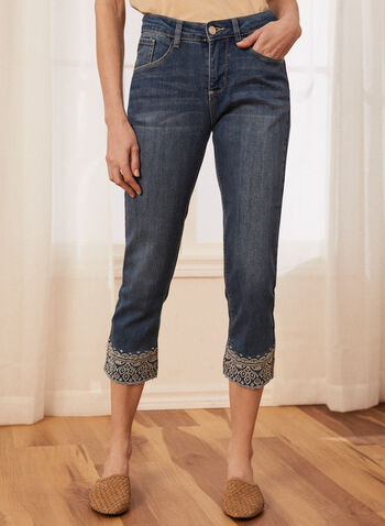 Embroidered Denim Capri Pants, Blue,  spring summer 2021, jeans, denim, embroidery, zip and button front closure, straight leg