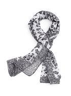 Leopard Print Oblong Scarf, Grey, hi-res