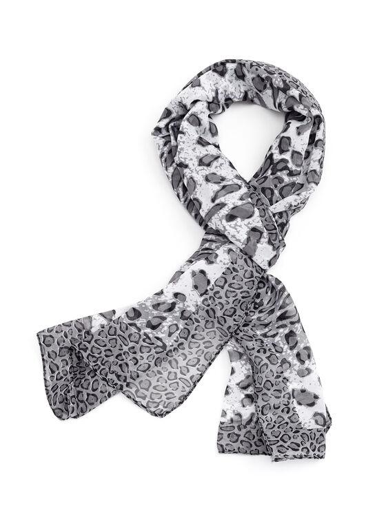 Foulard rectangulaire à motif léopard, Gris, hi-res