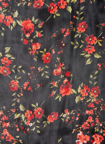 Foulard léger fleuri, Noir, hi-res