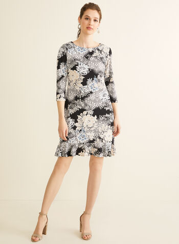 Ruffled Hem Floral Dress, Black,  day dress, 3/4 sleeves, jersey, textured, floral, boat neck, ruffled, spring summer 2020