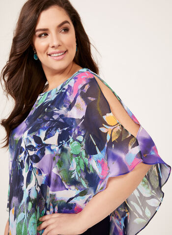 Asymmetric Floral Print Poncho Dress, Blue, hi-res