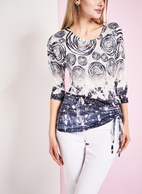 Abstract Print Drawstring Detail T-Shirt, Blue, hi-res