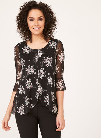 Capelet Front Mesh Top, Black, hi-res