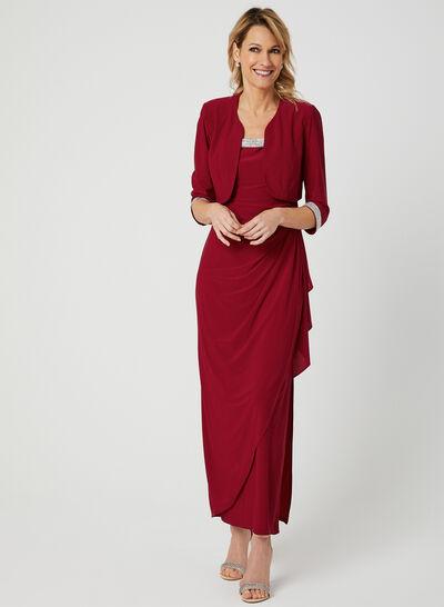 Embellished Dress & Jacket Set