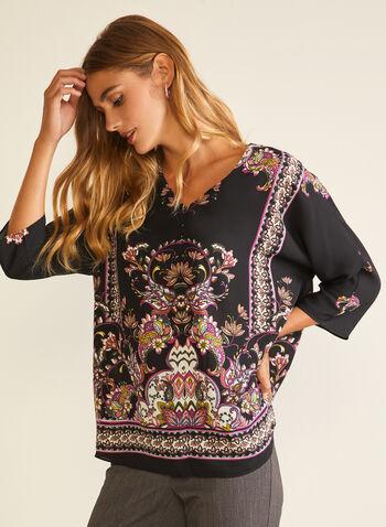 V-Neck Kimono Blouse, Black,  blouse, kimono, paisley, chiffon, v-neck, fall winter 2020
