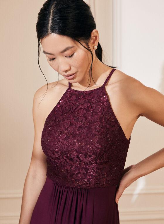 Lace & Sequin Bodice Dress, Purple