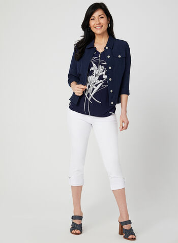 Floral Print Jersey Top, Blue, hi-res