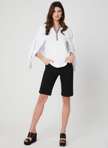 ¾ Sleeve Henley T-Shirt, White, hi-res,  Henley, 3/4 sleeves, spring 2019