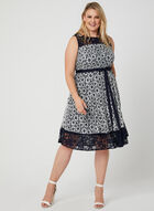 Floral Lace Illusion Dress, Blue, hi-res