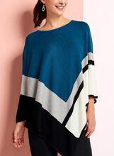 Poncho graphique en tricot, Bleu, hi-res