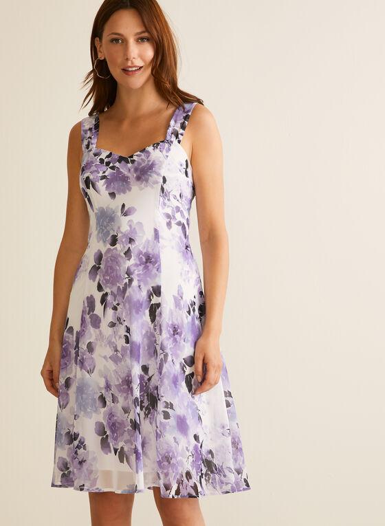 Floral Print Dress & Cardigan, Purple