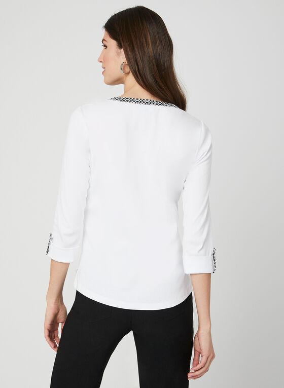 Haut à manches ¾ et détails boutonnés, Blanc