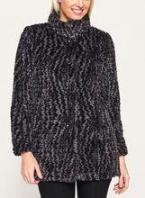 Novelti - Chevron Faux Fur Coat, Black, hi-res