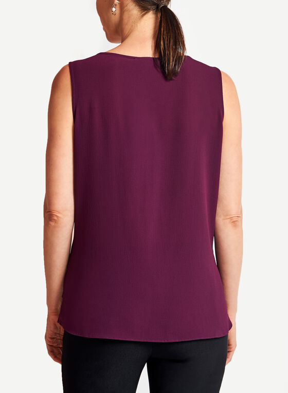 Sleeveless Double Layer Chiffon Top, Purple, hi-res