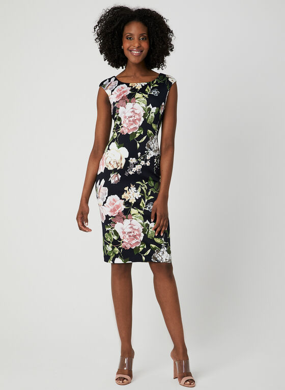 Floral Print Midi Dress, Blue, hi-res