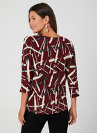 Abstract Print Dolman Sleeve Top, Red