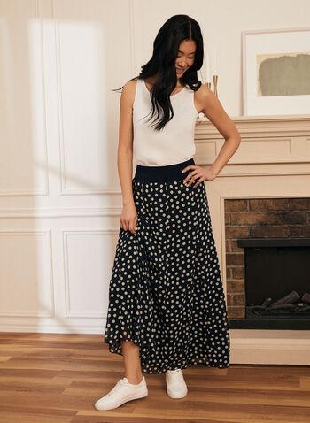 Polka Dot Print Maxi Skirt, Blue,  skirt, pull-on, polka dot, maxi, spring summer 2021