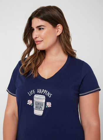 René Rofé - Chemise de nuit à appliqué café, Bleu, hi-res,  pyjama, chemise de nuit, café, manches courtes, coton, automne hiver 2019
