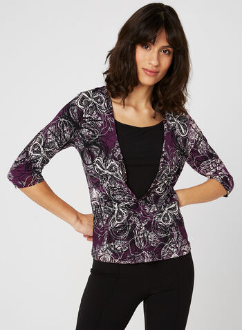 Floral Print ¾ Sleeve Top, Purple, hi-res
