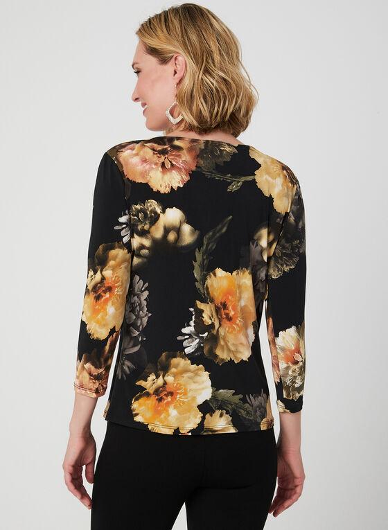 Floral Print ¾ Sleeve Top, Black