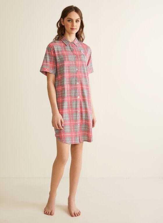Comfort & Co. - Chemise de nuit à carreaux, Gris