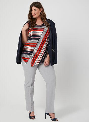 Asymmetrical Stripe Print Top, Blue, hi-res