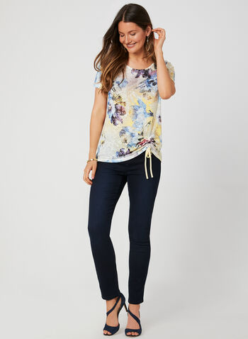 Floral Print T-Shirt, Blue, hi-res,  t-shirt, short sleeves, floral print, rhinestones, drawstring, burnout, fall 2019, winter 2019