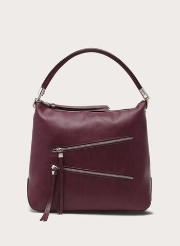 Zip Detail Hobo Bag, Red, hi-res