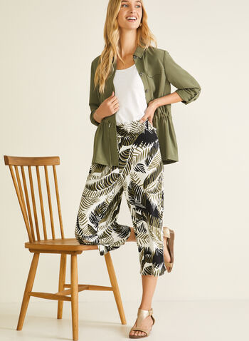Tropical Print Gaucho Pants, Green,  capris, tropical print, pull-on, high rise, wide leg, smocked, spring summer 2020