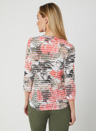 Palm Print Burnout Top, Green, hi-res