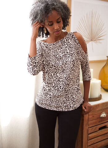 Animal Print Cold Shoulder Top, White,  spring summer 2021, made in Canada, top, blouse, cold shoulder, peek-a-boo, boat neck, 3/4 sleeve, elbow sleeve, animal print, cheetah print, crepe
