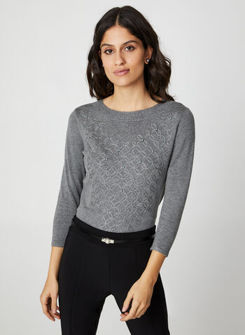 Rhinestone & Pearl Embellished Sweater, Grey,  sweater, pearls, rhinestones, 3/4 sleeves, scoop neck, rhinestone top, fall 2019, winter 2019