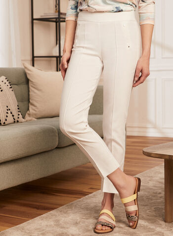 City Fit Slim Leg Pants, White,  pants, city, slim leg, bengaline, stretchy, ankle, rivets, slits, pull-on, pleats, spring summer 2020