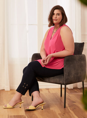 Sleeveless Asymmetric Top, Pink,  spring summer 2021, tunic, blouse, top, asymmetric, sleeveless, v neck, made in Canada