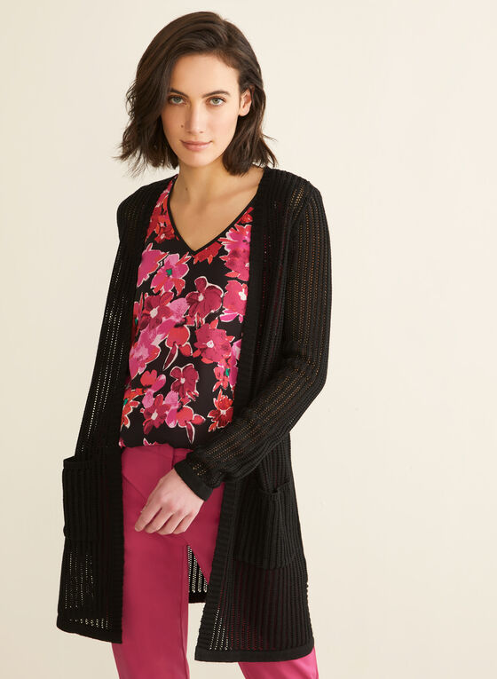 Open Front Knit Cardigan , Black