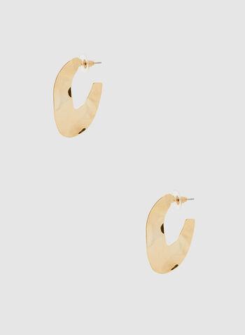 Boucles d'oreilles ouvertes martelées, Or, hi-res