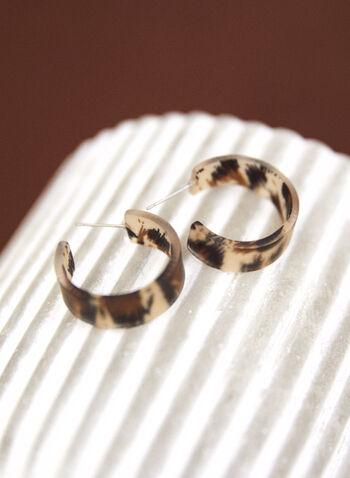 Boucles d'oreilles à anneau ouvert , Brun,  accessoire, bijou, boucles d'oreilles, anneaux, ouvert, tige, motif, animalier, automne 2021