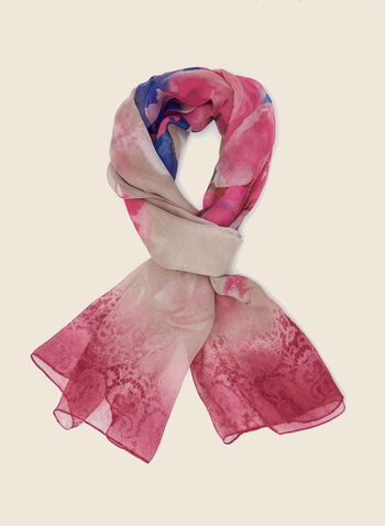 Floral Print Lightweight Scarf, Pink,  scarf, lightweight, floral, chiffon, fall winter 2020