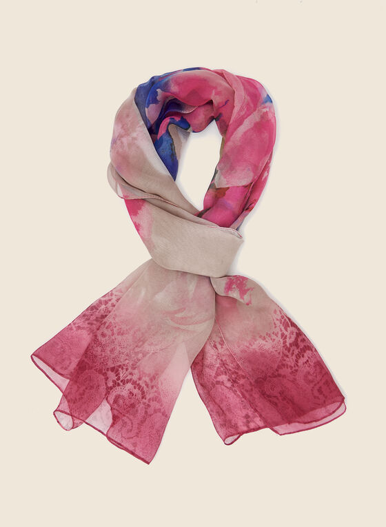 Floral Print Lightweight Scarf, Pink